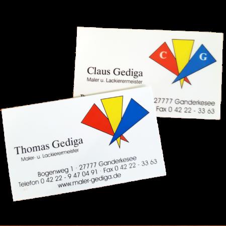 Visitenkarte vom Gediga Malereibetrieb